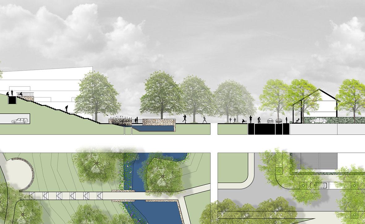 Doorsnede en detail openbare ruimte